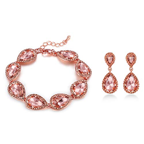 - EVER FAITH Women's Crystal Elegant Bridal Teardrop Pierced Earrings Bracelet Set Champagne Rose Gold-Tone