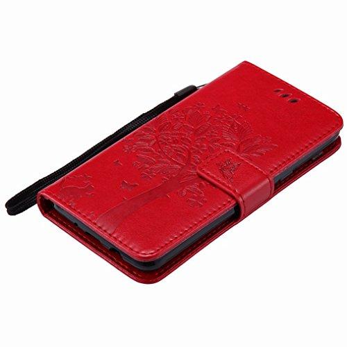 Yiizy Samsung Galaxy J5 (2017) Custodia Cover, Alberi Disegno Design Sottile Flip Portafoglio PU Pelle Cuoio Copertura Shell Case Slot Schede Cavalletto Stile Libro Bumper Protettivo Borsa (Rosso)