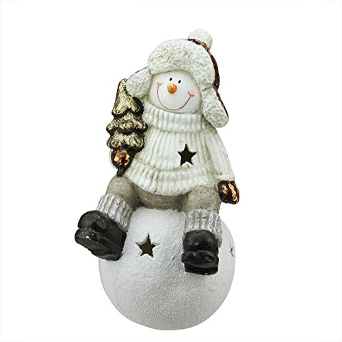 Northlight Metallic Snowman Sitting On Snowball Christmas Tea Light Candle Holder, 19