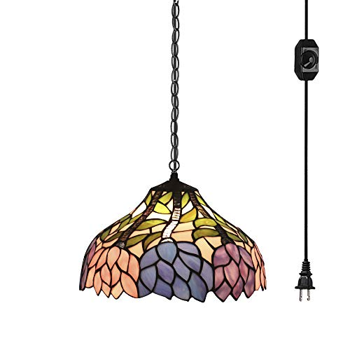 STGLIGHTING Colorful Baroque Handmade Glass Shade Tiffany Style Antique Chandelier with 15ft Plug-in UL Dimmer Switch Cord with Iron Chain Decorative Pendant Light Bulb Not Included