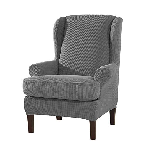 Subrtex 2 Piece Spandex Waffle Fabric Stretch Wingback Slipcovers (Wing Chair, Light Gray)