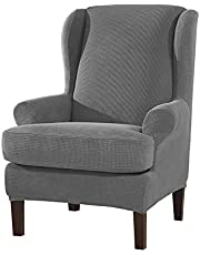 Subrtex 2-Pieces Spandex Elastic Arm Wingback Cover Waffle Fabric Back Furniture Protector Stretch Sofa Slipcovers for Living Room(Wing Chair,Light Gray)
