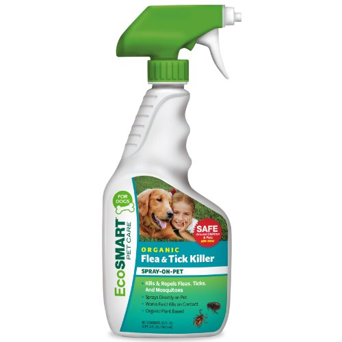 EcoSmart Organic Spray-On Pets Flea Tick Killer Dogs, Best Non-Toxic Insecticide, 20 oz Ready-to-Spray Bottle