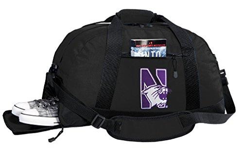 Broad Bay NCAA Northwestern University Duffel Bag - Northwestern Wildcats Gym Bags w/Shoe Pocket (Wildcats Gym Bag)