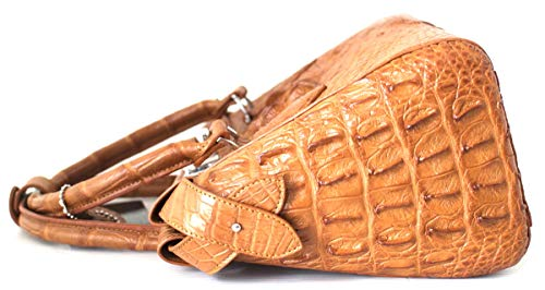 M Womens W Authentic Tan Handbag Hobo Strap Skin Hornback Bag Crocodile Tote dOxxBag