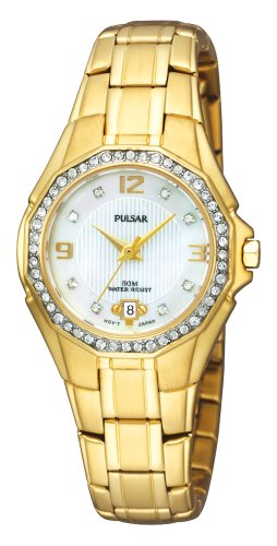 (Pulsar Women's PXT800 Crystal Mother of Pearl Dial Watch)