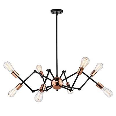 Jazava Industrial Modern Sputnik Chandelier Spider Semi Flush Mount Pendant Lighting Adjustable Arms Creative Personality Lamp Ceiling Light Fixture, Black Finish,Rose Gold Canopy