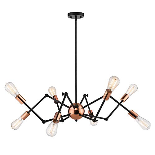 Jazava Industrial Sputnik Chandelier, 8-Lights Modern Pendant Light for Farmhouse, Hanging Light Fixture, Adjustable Swing Arms, Black and Rose Gold Finish