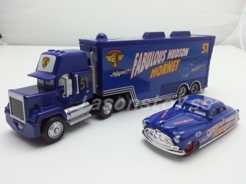 Car Toys Pixar 1:55 Scale Diecast No.51 Mack Racer's Truck & Fabulous Hudson Hornet Metal Toy and Car Collectors