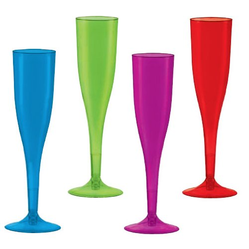 Colorful Assorted Color Plastic Champagne Glasses Cold Party Beverage Drinks Reusable Drinkware, 6 oz., Pack of 20.