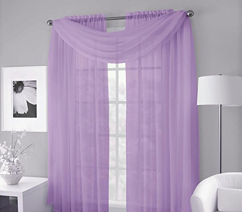 GorgeousHomeLinen (LILY) Lilac Versatile Multi Use 3pc Set 2 Voile Sheer Panels + 1 Valance Scarf Topper Window Curtain 100% Matching in 4 SIZES (108