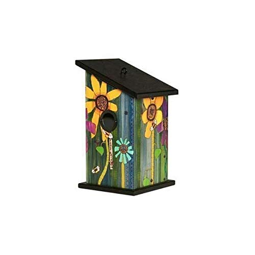 - Studio M Peace Garden Birdhouse Wood-Grain Floral Fully Functional, Weather-Proof with Cleanout, Made in The USA, 7 x 12.25 Inches, Universal 1.5 Inch Entrance with Metal Hole Protector
