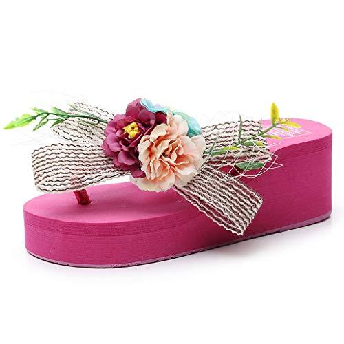 - AOJIAN Shoes Women's Sandals Floral Wedges Bohemian Style Flip Flop Slide Slipper Clog Mule Hot Pink