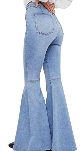 Big Jeans Flare - Women's Fashion Bell Bottom Pants High Waist Tassel Stretch Curvy Fit Jeans Blue