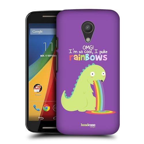 Head Case Designs Dinosaur Rainbow Puke Protective Snap-on Hard Back Case Cover for Motorola Moto G 2nd Gen Dual SIM 2nd Gen