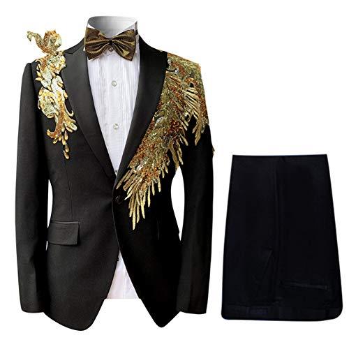 Jacket Multi Embroidered (Mens Floral Sequin Embroidered Dress 2 Piece Suit Slim Fit Blazer Jacket & Pant)
