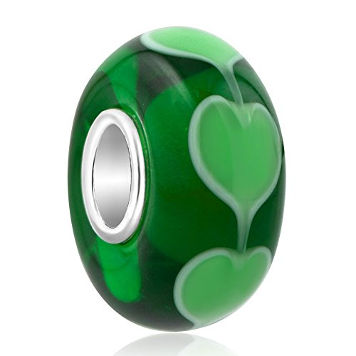 ReisJewelry Heart Lampwork Murano Glass Beads Spacer Charm With 925 Sterling Silver Core For Bracelets (Green)