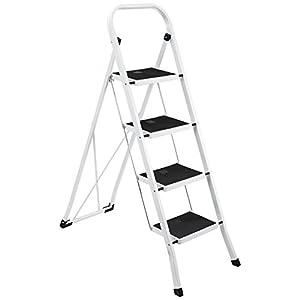 New Ollieroo Step Stool EN131 Steel Folding 4 Step Ladder with Grip Handle Anti-slip Step Mon-marring Feet 330-Pound Capacity White