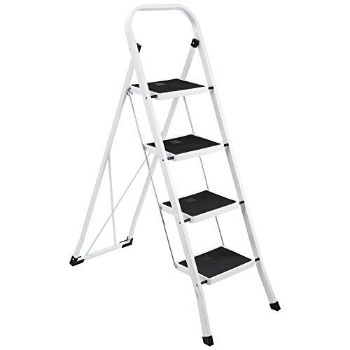 Safety 4 Step Ladder - New Ollieroo Step Stool EN131 Steel Folding 4 Step Ladder with Grip Handle Anti-Slip Step Mon-marring Feet 330-Pound Capacity White