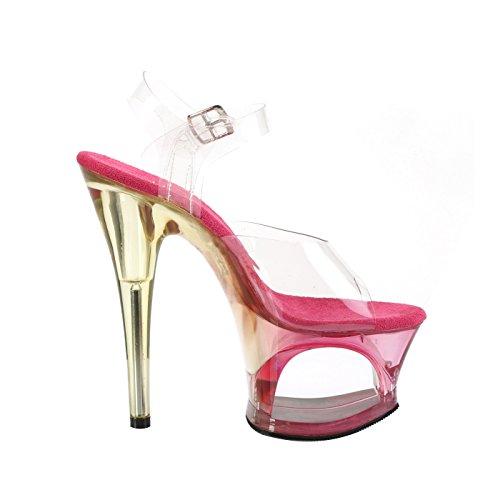Pleaser Plateau Sandale mit Knöchelriemen, Transparente Riemen, Pink Getönte ausgeschnitte Plattform, Vegan, MOON-708MCT