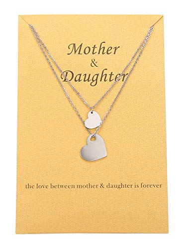 Zealmer Mom Gifts Necklace Pendant Heart Family Love Mother Daughter Necklace for Mom Daughter for 2