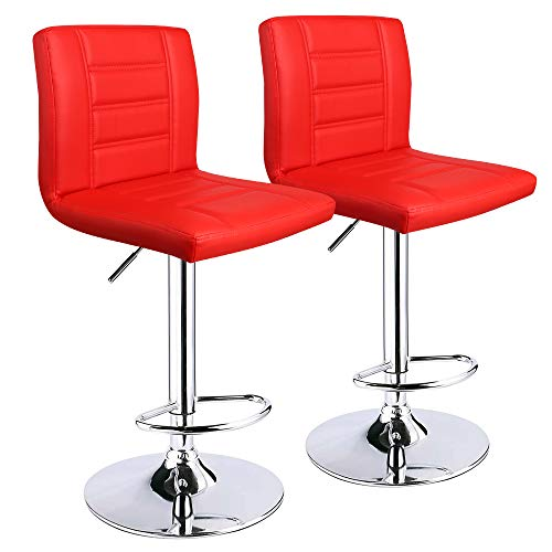 Leopard Bar Stools Set of 2, Modern Adjustable Bar Stool with Back, Swivel Barstool (Red)