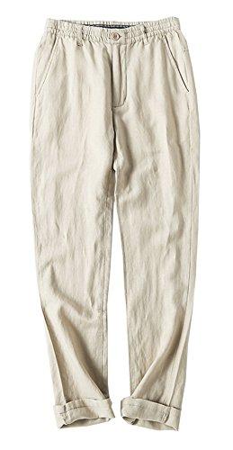 Summer Linen Suit (Chartou Man's Summer Casual Stretched Waist Loose Fit Linen Beach Pants (Medium, Beige))