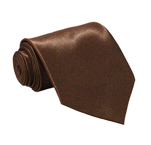 Soophen NEW Mens Necktie SOLID Satin Neck Tie Brown