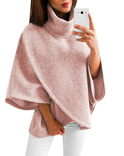 - YOINS Women Cardigan Capes Turtleneck Poncho Collar Flared Long Sleeves Sweater Pink L