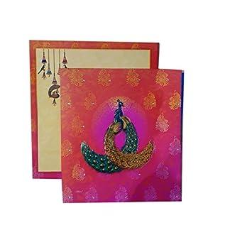 Mahaveer Peacock Design Wedding Invitation Card For Hindu