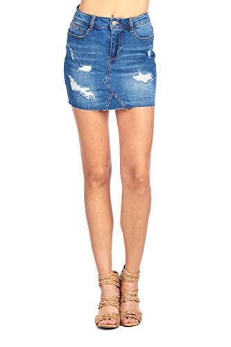 Khanomak Classic Denim Jean Casual Basic Distress Raw Cut Frayed Hem Faded Wash Mini Skirt (Large, Dark Blue) (Frayed Skirt Mini)