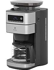 Electrolux Kaffebryggare med Bönkvarn Modell E6CM1-5ST, Kaffemaskin med Timer, Aromafunktion, Automatisk avstängning, 915W, Brygger två till tio koppar kaffe, Rostfritt stål