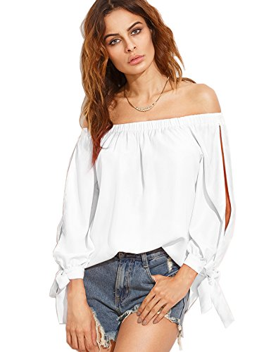 Jeans Sleeve Cuff (SheIn Women's Off Shoulder Slit Sleeve Tie Cuff Blouse Top XX-Large White)