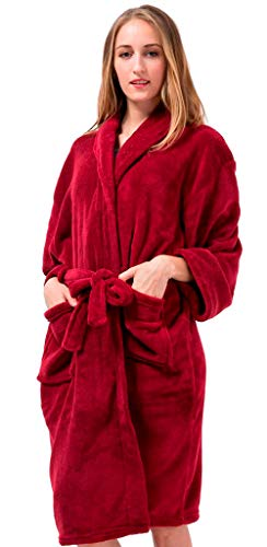 Pembrook Ladies Robe - Fleece - Dark Red - Size L/XL - Spa Bathrobe Women, Girls