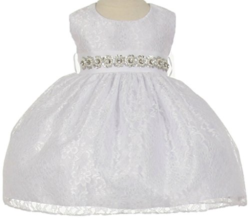 Flower Girl Dress Overlay Lace with Rhinestone Belt for Baby & Infant White (Baby) S 11.32BT (Belt Peach)