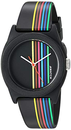 (AWATCH by Armitron Unisex AW/1000BRB Multicolored Stripe Accented Matte Black Resin Strap Watch)