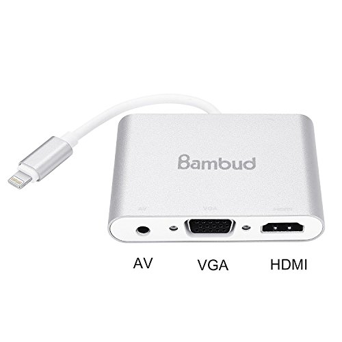 Bambud Lightning to HDMI VGA AV Adapter Converter , 4 in 1 Plug and Play Lightning Digital AV Adapter for iPhone iPad iPod to Mirror on HDTV Projector Monitor