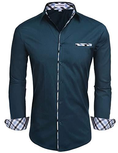 HOTOUCH Mens Inner Plaid Oxford Cotton Button Down Dress Shirts (Blue Green XL)