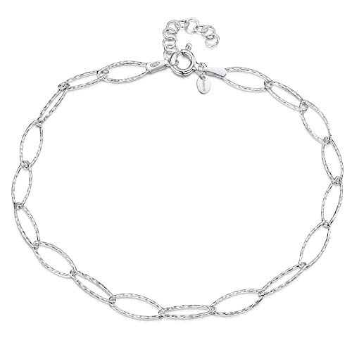 "925 Fine Sterling Silver 6.3 mm Adjustable Anklet - Oval Cable Chain Ankle Bracelet - 9"" to 10"" inch - Flexible Fit"