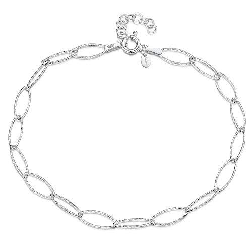 925 Fine Sterling Silver 6.3 mm Adjustable Anklet - Oval Cable Chain Ankle Bracelet - 9