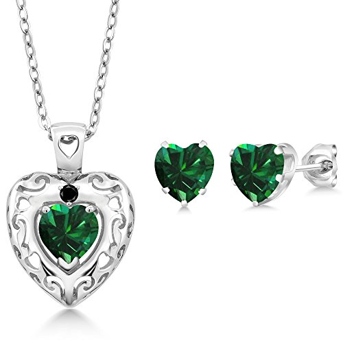 2.06 Ct Green Simulated Emerald Black Diamond 925 Sterling Silver Pendant Earrings (Diamond Emerald Jewelry Set)