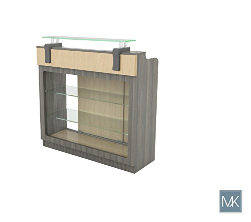 ALERA Reception Table with Glass Display Shelves and Side Cabinets, Ideal for Salon, Office, Counter, Modern Waiting Room Reception Furniture & Equipment by MAYAKOBA (Image #6)