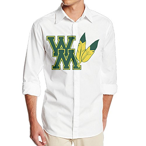 (Memoy William WM Logo Mary Men Long Sleeve Classic Shirt XL White)