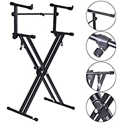 Pro Adjustable 2-Tier X Style Dual Keyboard Stand Electronic Piano Double New US Ship
