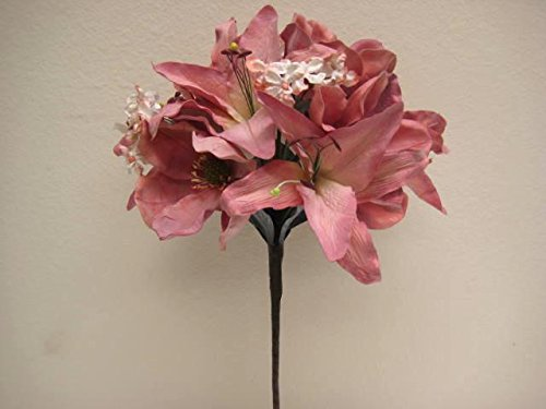 Phoenix Silk CORAL Magnolia Lily Topiaries Latex Artificial Flowers 3630CL