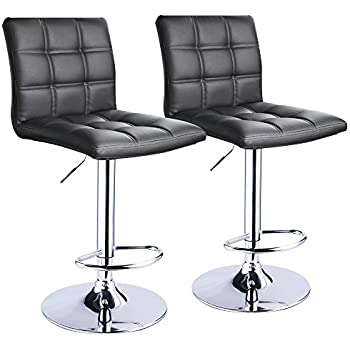 Modern Square Leather Adjustable Bar Stools with Back Set of 2 Counter Height Swivel  sc 1 st  Amazon.com & Bar Stools | Amazon.com islam-shia.org