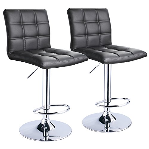 Modern Square PU Leather Adjustable Bar Stools With Back,Set of 2,Counter Height Swivel Stool by Leopard (Black) (Chair Bar)