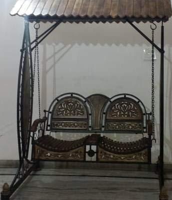 Rising Infinity Iron & Wooden Swings/Jhoola for Home & Garden Floor-Standing