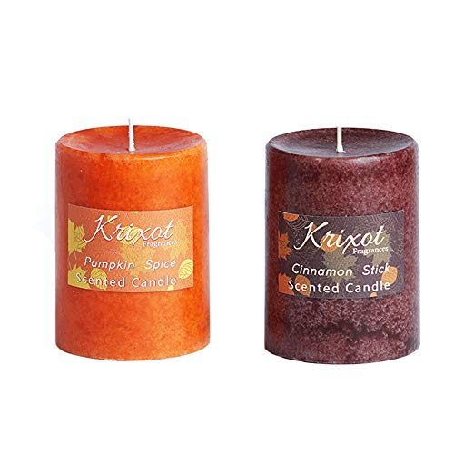 Pillar Pumpkin (KRIXOT Scented Pillar Candles Set of 2 fragrances | Pumpkin Spice and Cinnamon Sticks in Mottled Design Finish Size 3