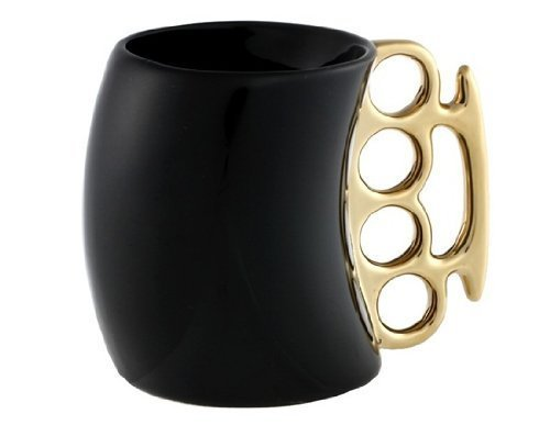 Funny Coffee Mug,Brass Knuckle Duster Creative Ceramic Cool Black Mugs with Golden Handle